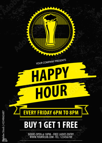 Happy Hour Offer Flyer Template Free Beer Vintage Discount