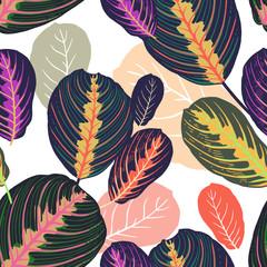 Panel Szklany Inspiracje na wiosnę Tropical leaves seamless pattern.
