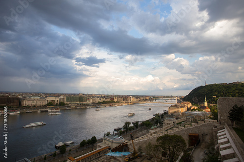 Tuinposter Schip Cityscape of Budapest, Spring. Panorama of Danube river and city