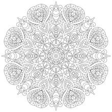 Monochrome Mandala For Coloring Book