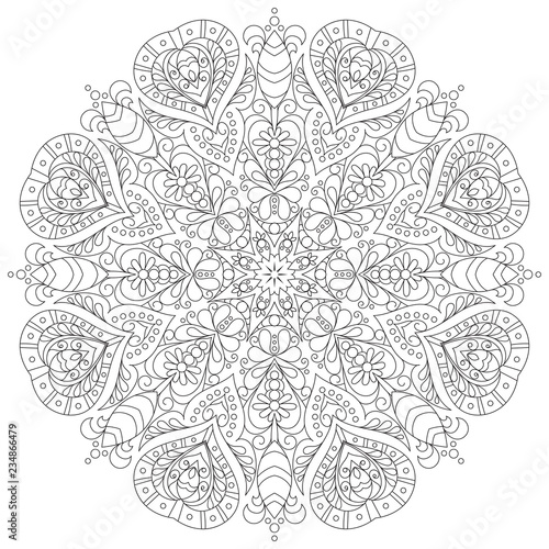 Photo  monochrome mandala for coloring book