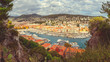Nice, South France, Panoramic view of the old port of Nice from the Castle Hill