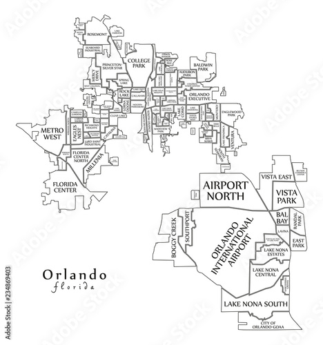 Map Of Florida By City.Modern City Map Orlando Florida City Of The Usa With Neighborhoods
