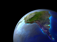 South America On Earth From Space. Very Fine Detail Of Planet Surface, Realistic Clouds And Very Bright City Lights.