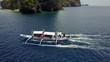 エルニドの海を航行するバンカーボート 空撮映像