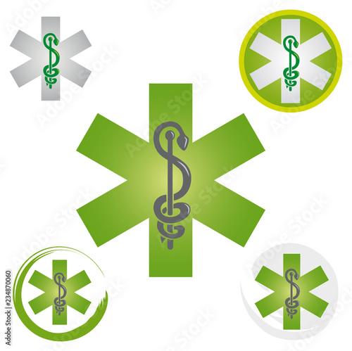 Ensemble d'Icônes Symbole Urgence Caducée Etoile Couleur Vert Wallpaper Mural