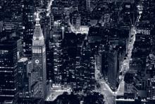 Closeup New York City At Night In Black & White
