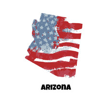 State Of Arizona. United States Of America. Vector Illustration. Watercolor Texture Of USA Flag.