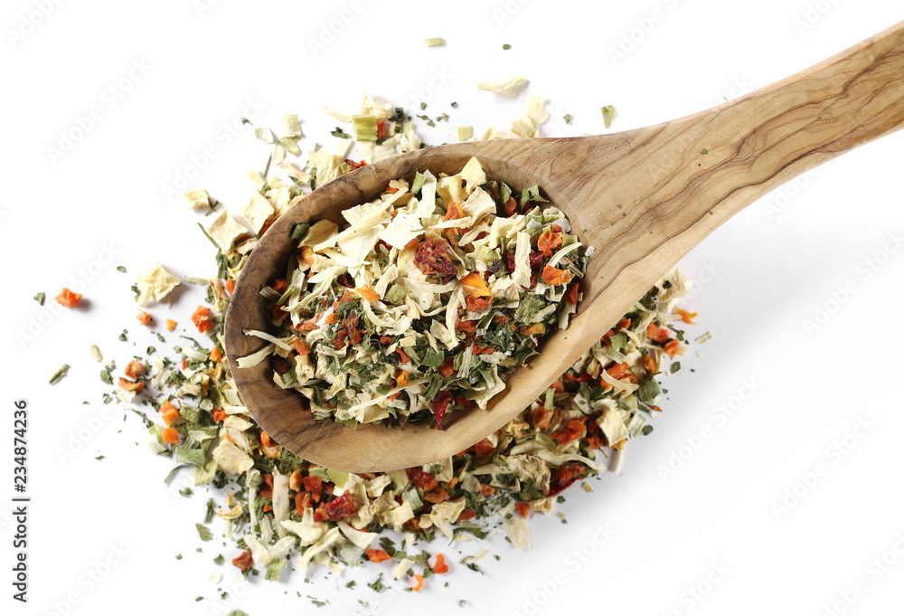 Fototapety, obrazy: Dry vegetable and spice mix with wooden spoon isolated on white background, top view