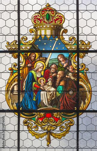 PRAGUE, CZECH REPUBLIC - OCTOBER 16, 2018: The stained glass of Nativity in church kostel Svatého Havla.