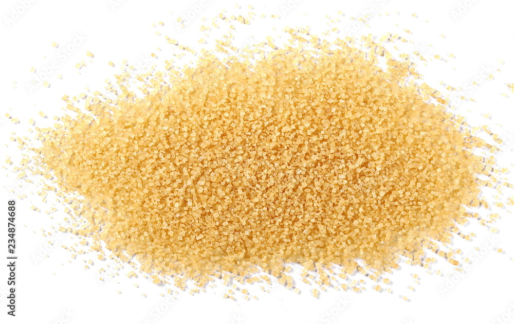 Fototapety, obrazy: Brown cane sugar pile isolated on white background and texture, top view