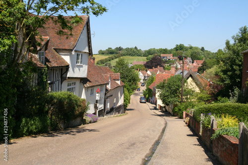 Looking down the main street in Kersey, Suffolk Canvas Print