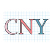 CNY (Chinese Yuan Renminbi) acronym written on checkered paper sheet- vector illustration