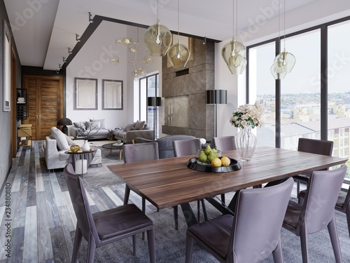 Elegant modern dining room interior. Dining room in luxury ...