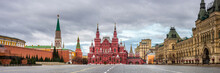 Panoramic View Of The Red Square In Moscow, Russia, In Early Cloudy Morning. Kremlin Wall, The Mausoleum, Iberian Gate And Shapel, State Museum Of History Ang GUM.