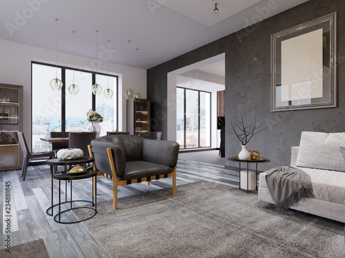Foto  loft apartment with living room and dining room.