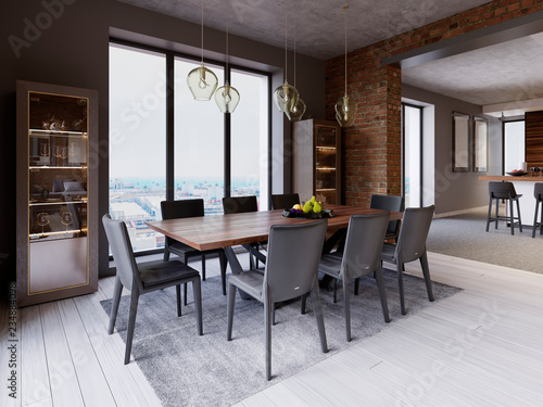 Fotografía  Cozy loft with dining table, chairs and storage racks.