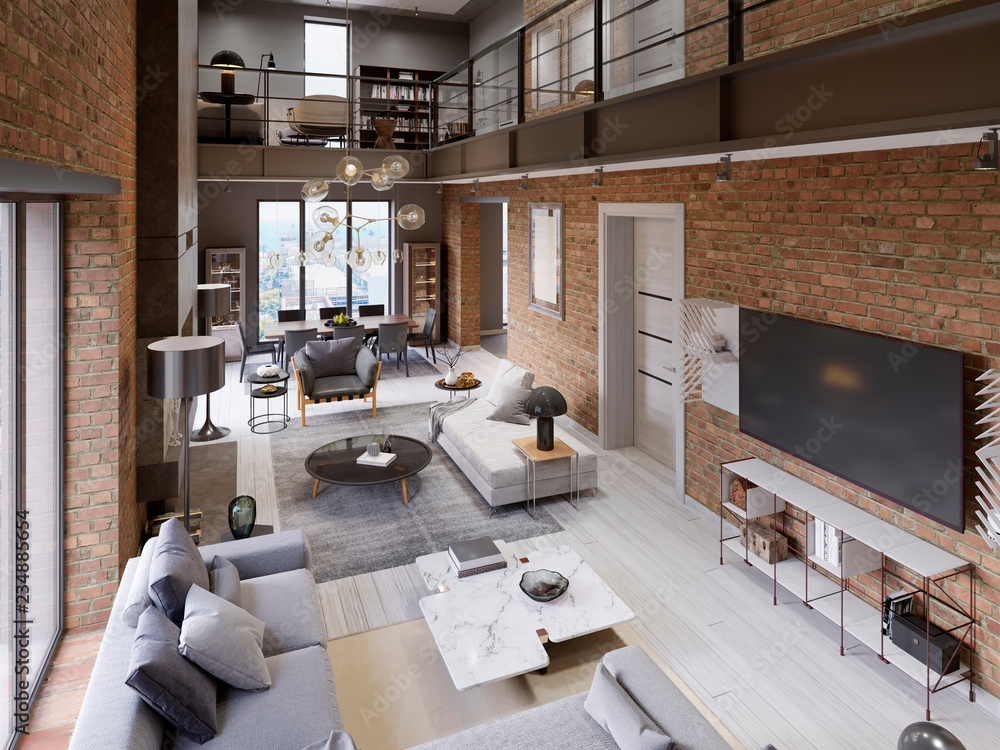 Fototapety, obrazy: Large modern loft-style apartment with sofas, armchair, fireplace, brick wall, dining table.