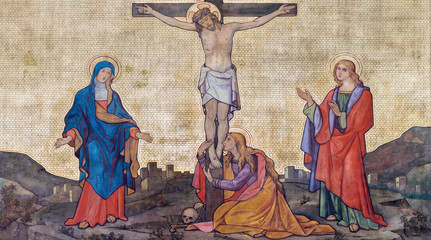 PRAGUE, CZECH REPUBLIC - OCTOBER 13, 2018: The fresco of Crucifixion in church kostel Svatého Cyrila a Metodeje probably by Gustav Miksch and Antonin Krisan (19. cent.).