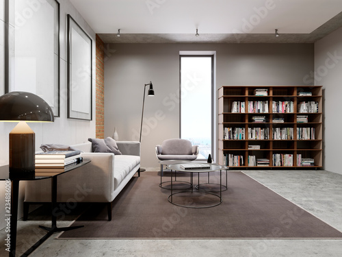 Modern living room and bookcase, library furniture with ...