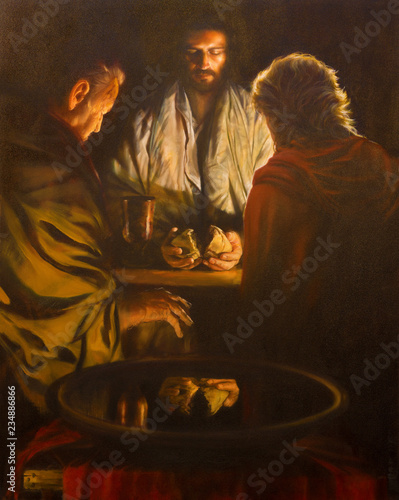 LONDON, GREAT BRITAIN - SEPTEMBER 18, 2017: The painting of the scene Jesus and the Disciples of Emausy in the church of Immaculate Conception, Farm Street from 20 cent Canvas Print