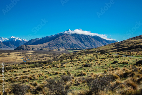 Mount Sunday landscape, scenic view of Mount Sunday and surroundings in Ashburto Canvas Print