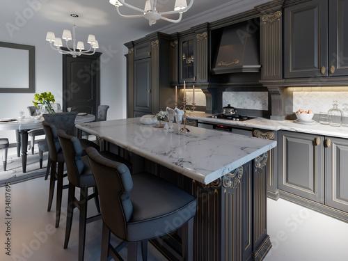 Fotografie, Obraz  Black bar stools at kitchen island in bright living room.