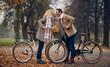 canvas print picture - Senior couple in park in autumn