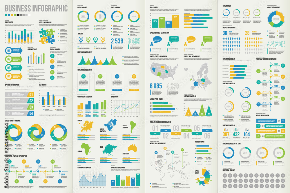 Fototapety, obrazy: Set of business infographic elements. Vector illustration for making your own layout.
