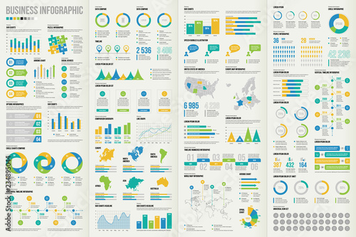 Photo  Set of business infographic elements