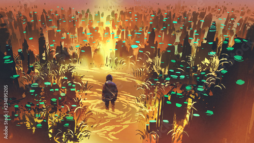 Poster Marron chocolat scenery of a man in the enchanted swamp with weird plants, digital art style, illustration painting
