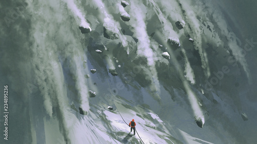 Tela scene of the climber man and  snow rocks falling rapidly down a mountainside, di
