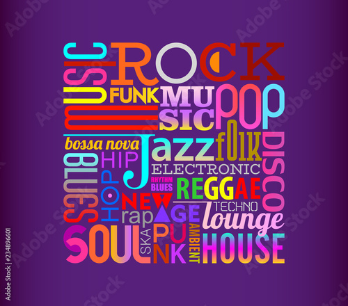 Music Styles text design on a dark violet