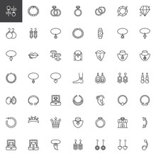 Jewellery Accessories Outline Icons Set. Linear Style Symbols Collection, Line Signs Pack. Vector Graphics. Set Includes Icons As Diamond Earrings, Pearl Necklace, Gemstone Ring, Bracelet, Piercing