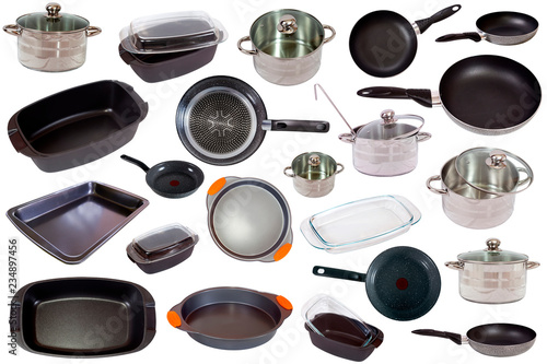 Set of cooking pan  isolated on white background