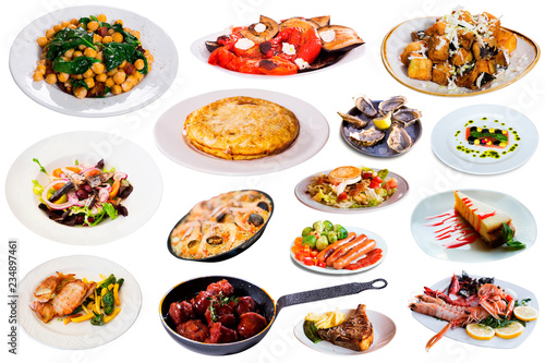 Photo Stands Ready meals Collection of dishes isolated