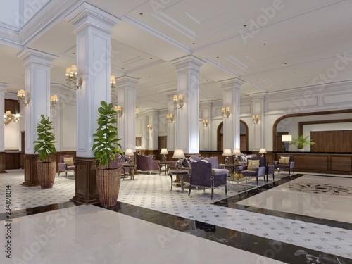 Fotografía  Modern luxury lobby hotel interior with luxurious furniture.