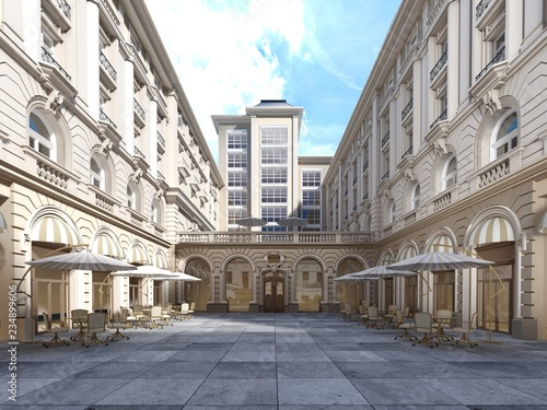 Foto The architecture of the courtyard is classic style, the facade of the building is in the classical style