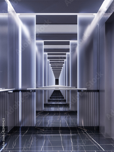 Fotografía Futuristic design of an elevator cabin with mirrors with neon illumination and metal panels
