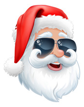 Cool Santa Claus Christmas Cartoon Character In Shades Or Sunglasses