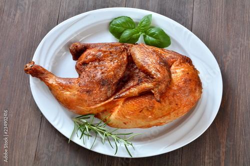 Fotografie, Obraz połowa kurczaka z rożna