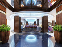 The Entrance To The Bar Is A Restaurant Of A Luxury Hotel In A Modern Style.