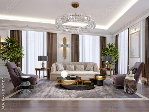 Fototapeta Design of luxury apartments in modern style with designer furniture and large curtains. obraz