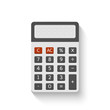 Electronic calculator in flat style with realistic shadow. Digital keypad math isolated device vector illustration.