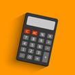 Dark electronic calculator in flat style with shadow. Digital keypad math isolated device vector illustration.