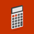 Electronic calculator in flat style with shadow. Digital keypad math isolated device vector illustration.