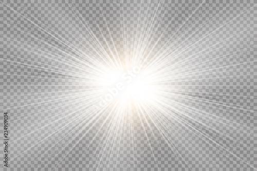 Obraz Glow transparent vector light effect set, explosion, glitter, spark, sun flash.  Vector illustration. - fototapety do salonu