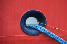 Hawse Hole In A Red Ship Metal...