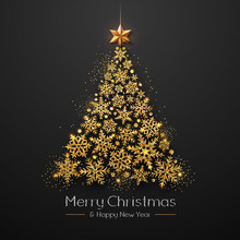 Christmas Poster With Golden C...