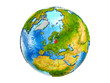 Baltic States on 3D model of Earth with country borders and water in oceans. 3D illustration isolated on white background.